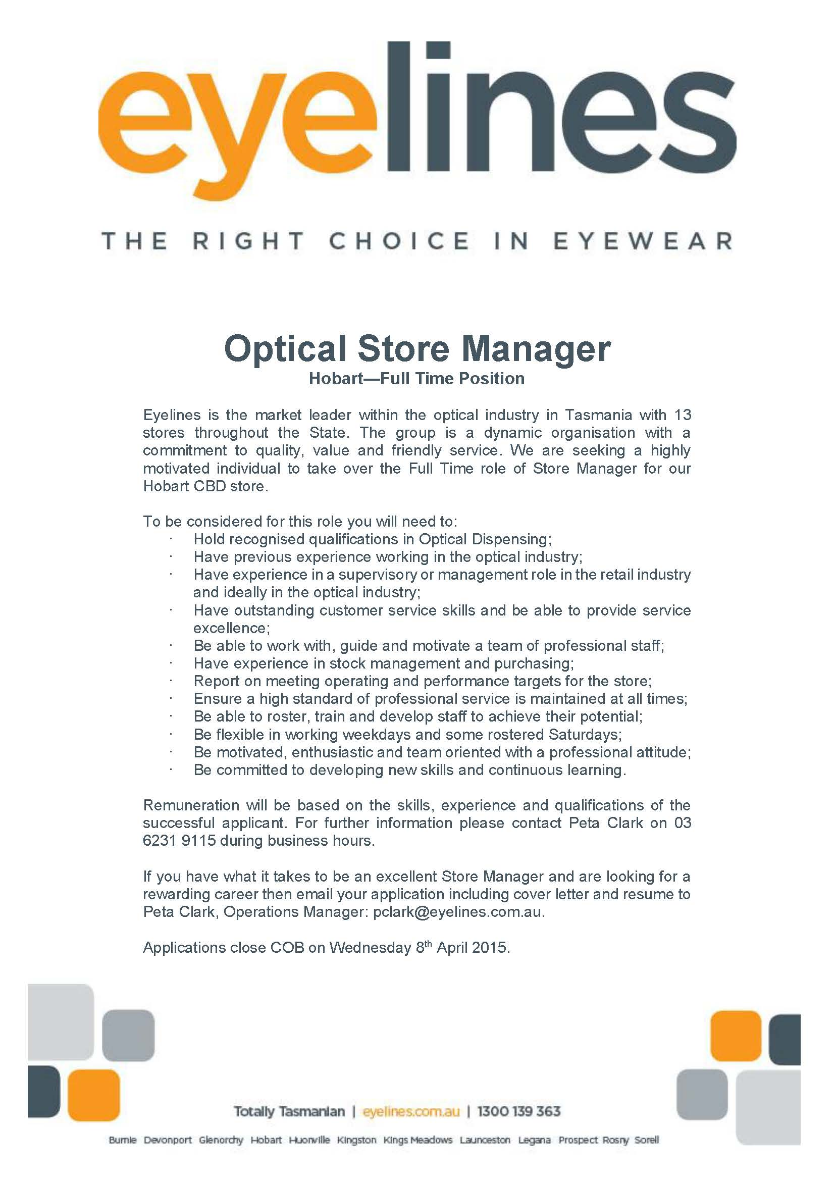 Store manager March 15